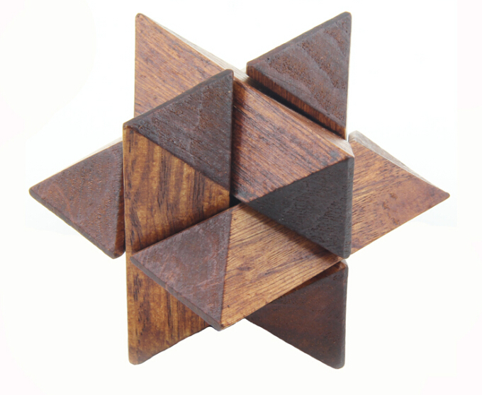 wooden star brain teaser puzzle