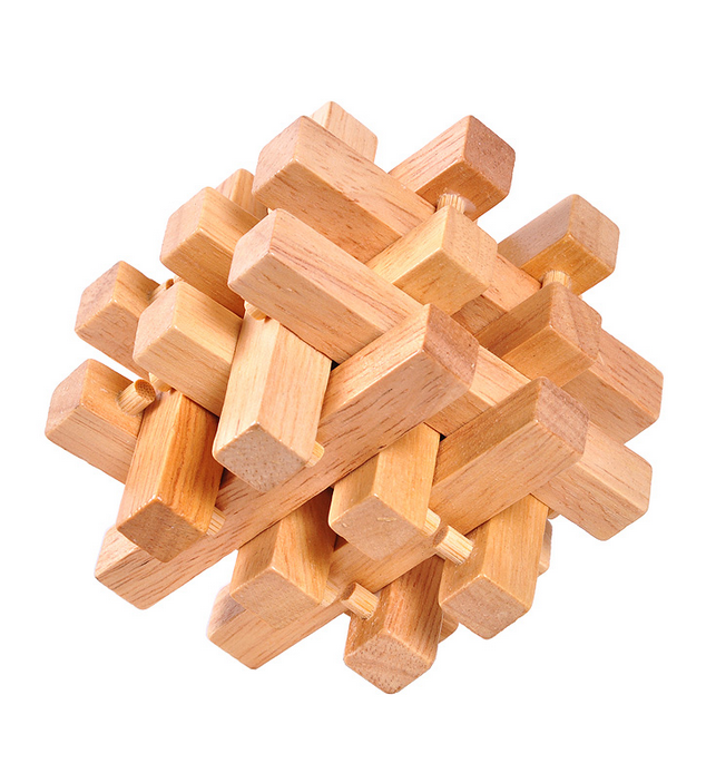 wooden lock up puzzle