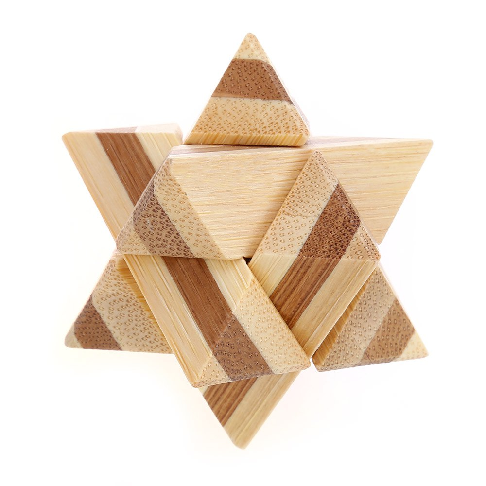 clear lacquer bamboo wooden star puzzle