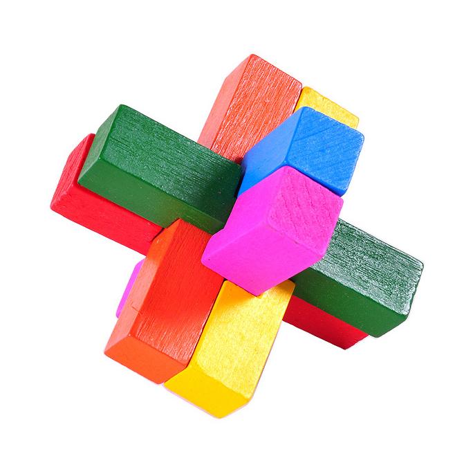 wooden interlock Triple Cross puzzle