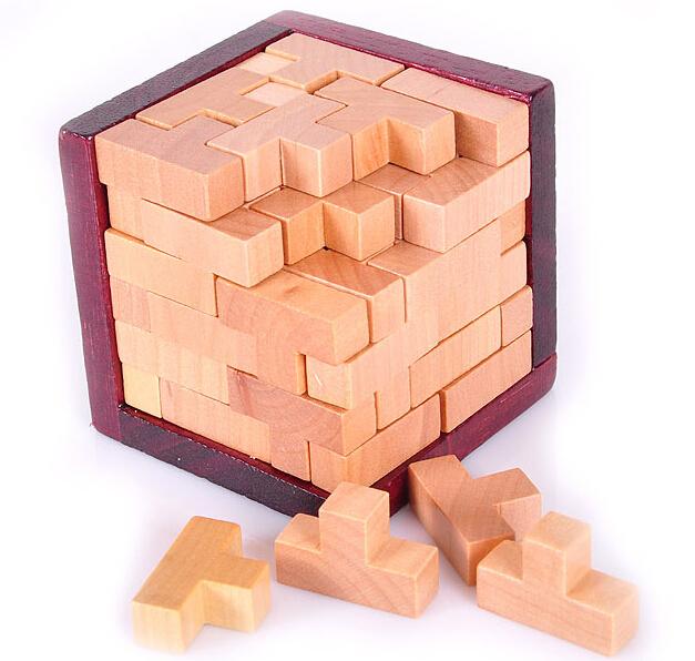 3D Wooden Brain Teaser T-shaped Tetris Blocks Geometric Puzzle