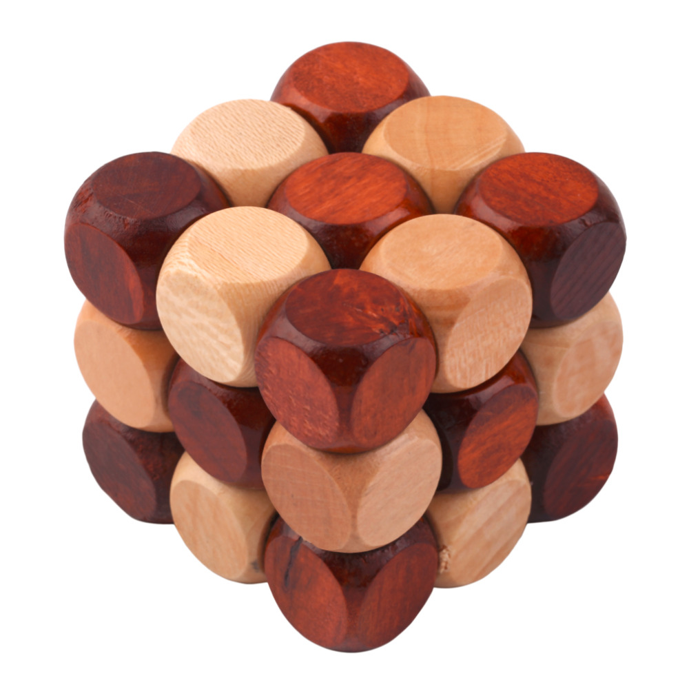 wooden chain cube brain teaser puzzle