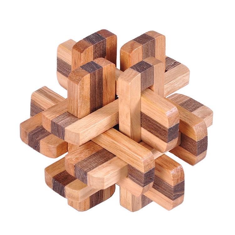 wooden brain teaser 12 pieces double color puzzle