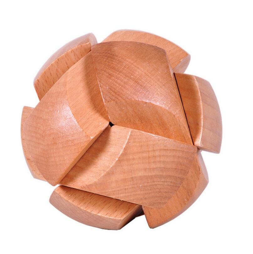 Natural Wood Football Burr Puzzle