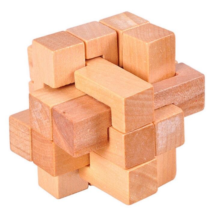 Natural Wooden Irregular Cube interlocked tabletop Puzzle