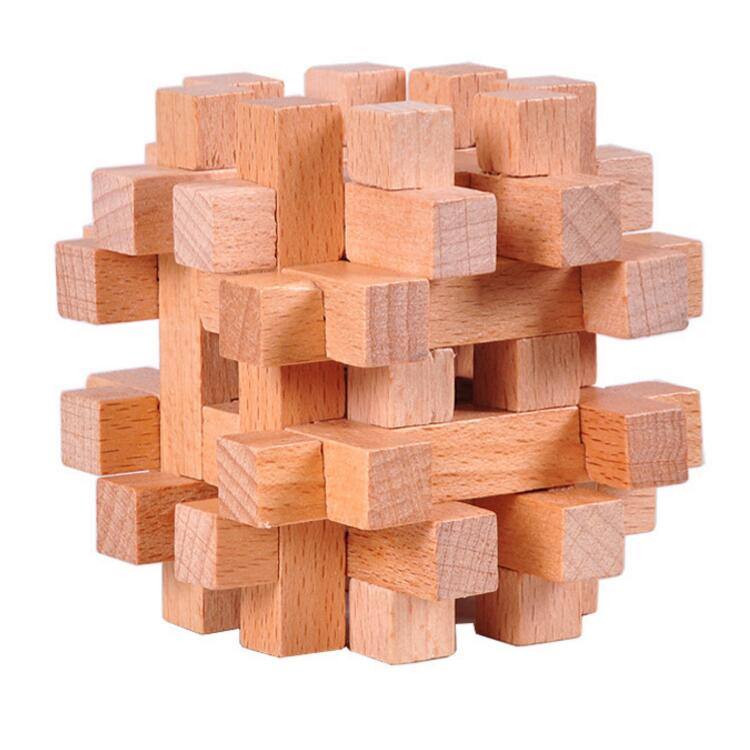 wooden burr puzzle for IQ test for school