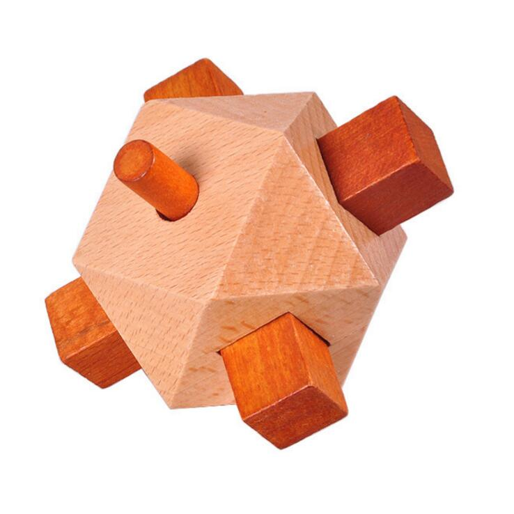 Colorful wooden landmine cube puzzle