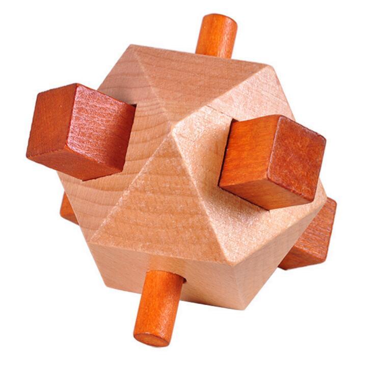 wooden logic puzzle cube puzzle