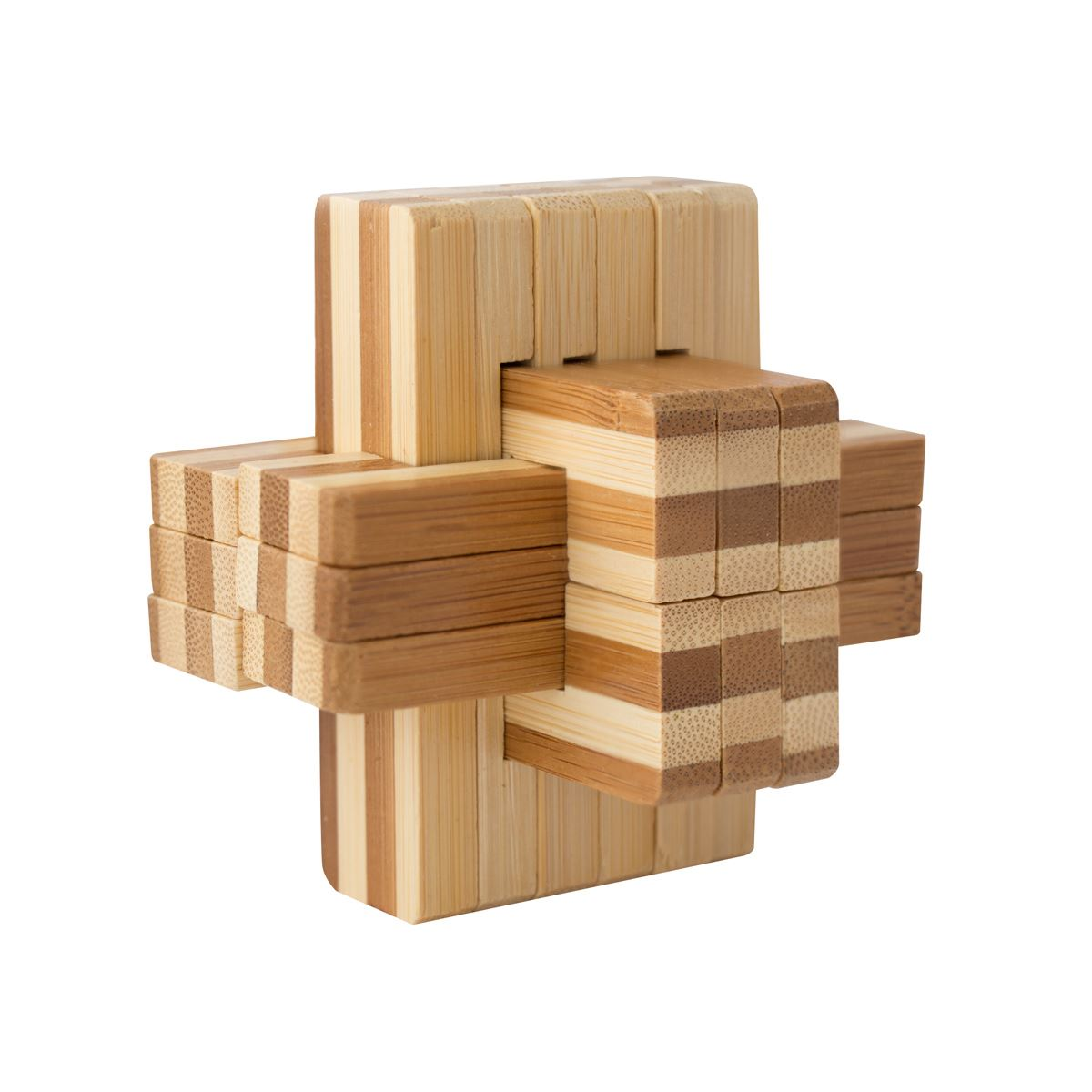Natural bamboo wooden block cube puzzle