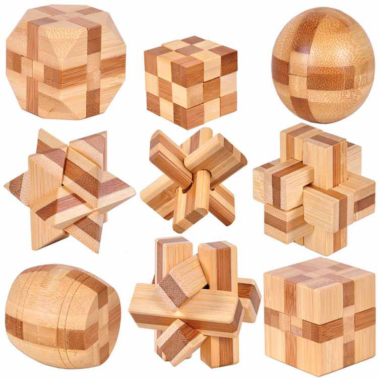 small bamboo puzzle set