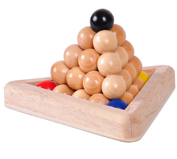wooden pyramid puzzle set