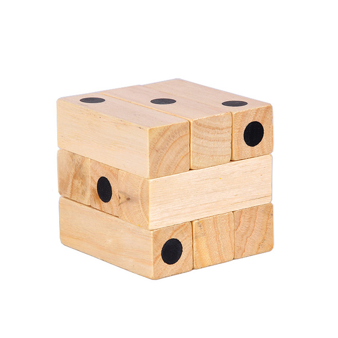 3D wooden domino cube