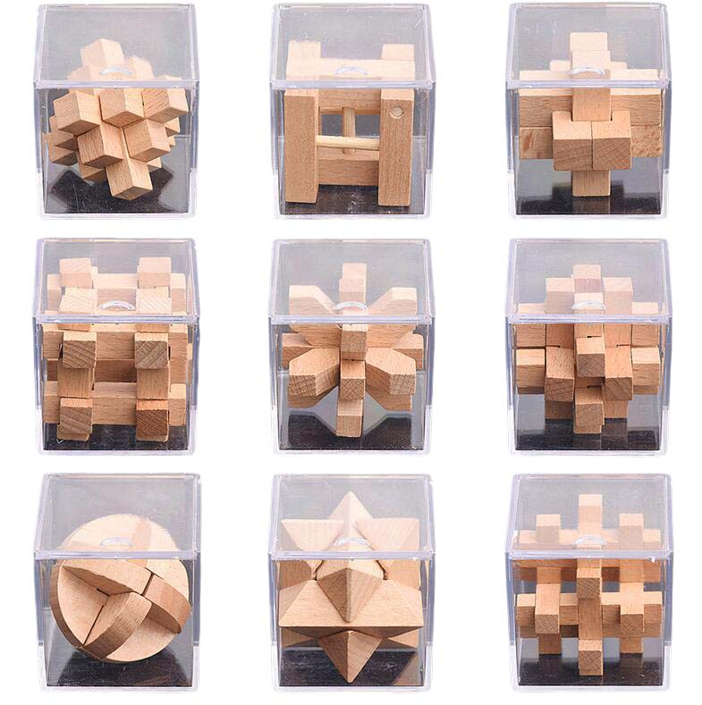 small wooden puzzle set