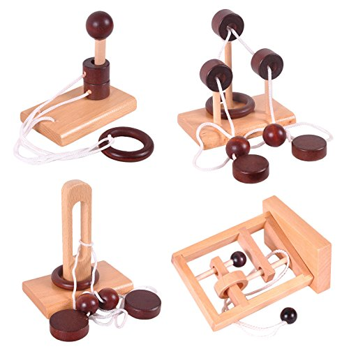 wooden rope puzzle set