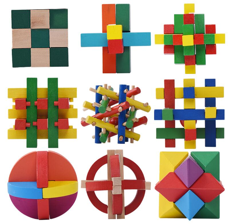 traditional wooden puzzle set