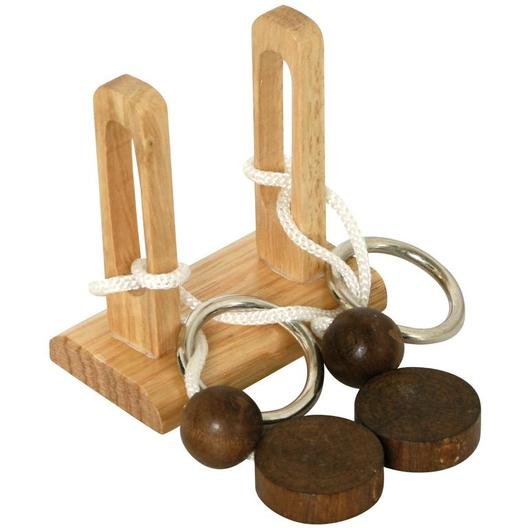 wooden iq rope puzzle