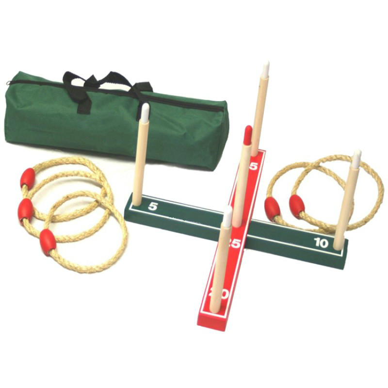wooden quoits game set with bag