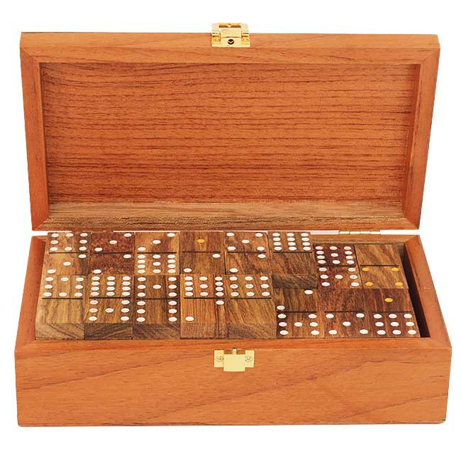 wooden dominoes with wooden case