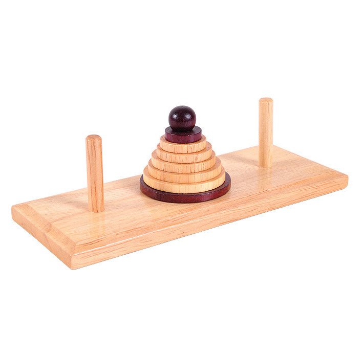 classical wooden hanoi tower puzzle