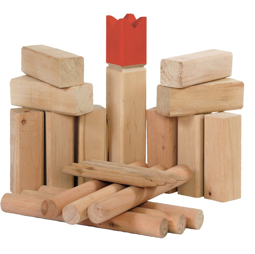 solid wood kubb game set