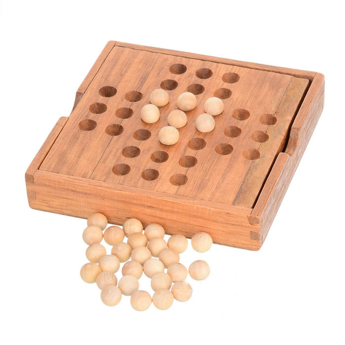 wooden solitaire game with box