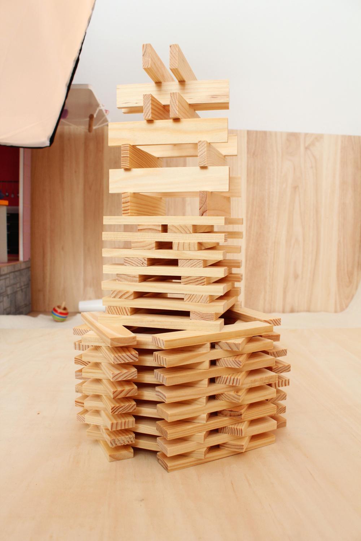 Natural wooden blocks set