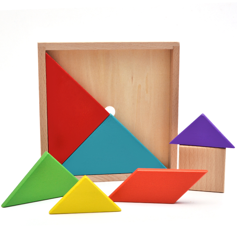 wooden tangram with box