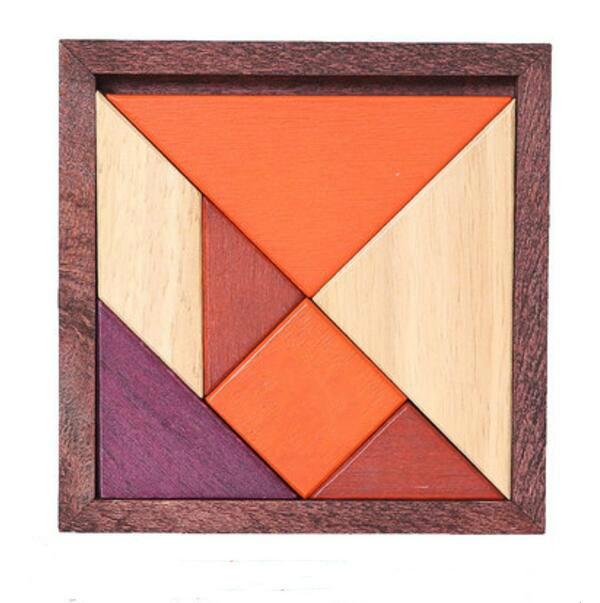 wooden brain teaser tangram puzzle