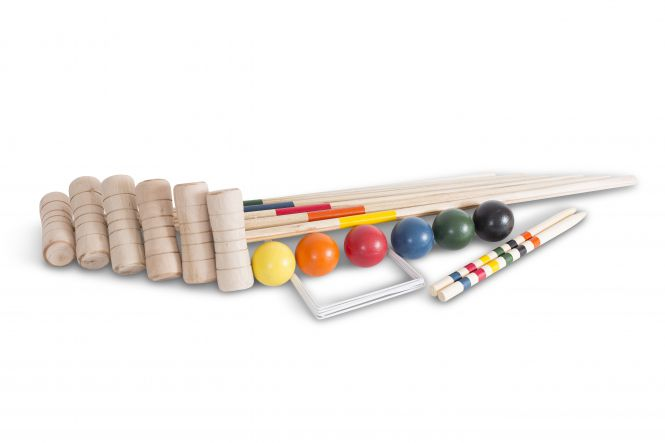wooden garden croquet game