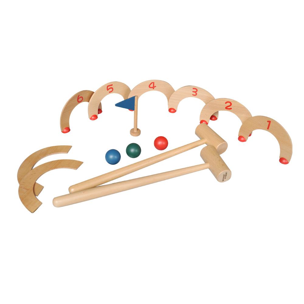 wooden mini croquet game