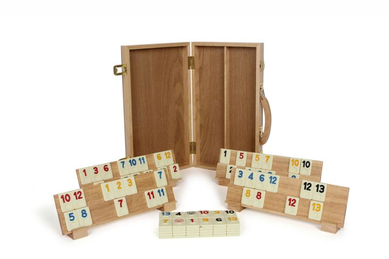 wooden rummy game set