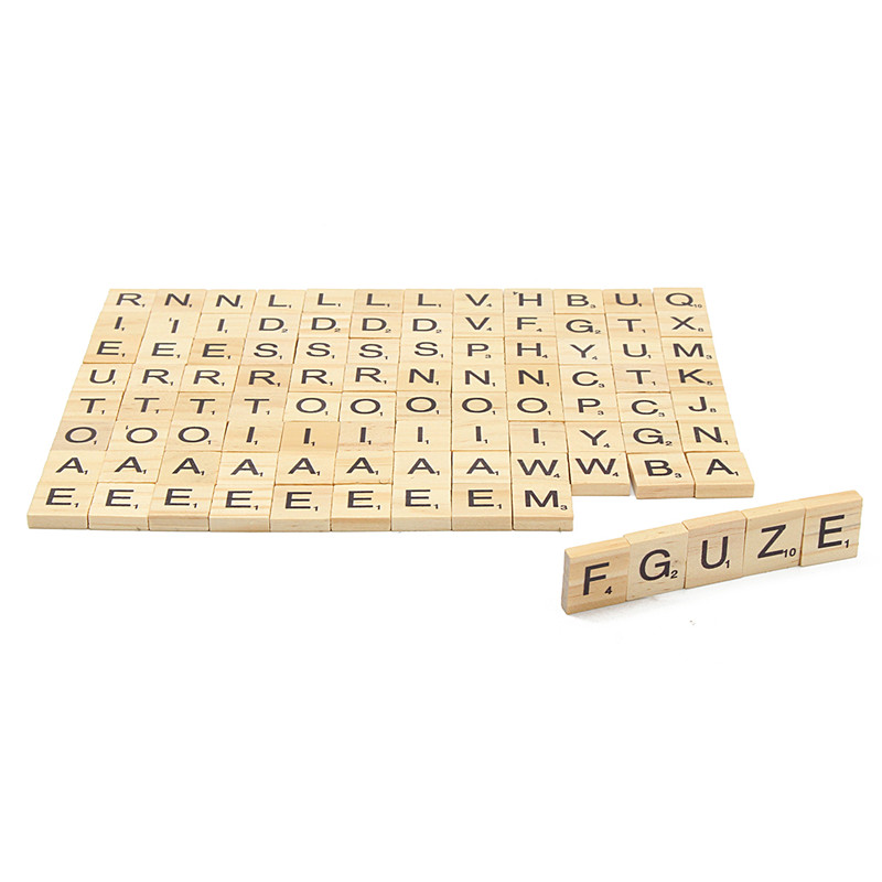 Wooden scrabble tiles game