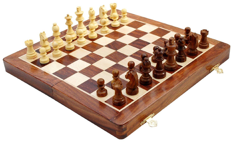 small wooden folding chess set