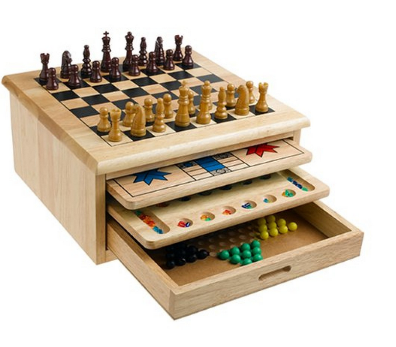 wooden board game with Storage Drawer