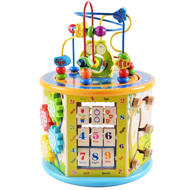 Wooden Activity Cube Center ------ wooden baby activity toy