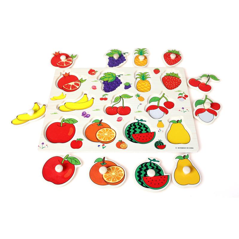 wooden fruit peg puzzle toy