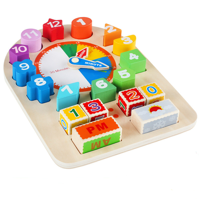 Wooden Clock Toy ----- wooden Children Sorting and ...