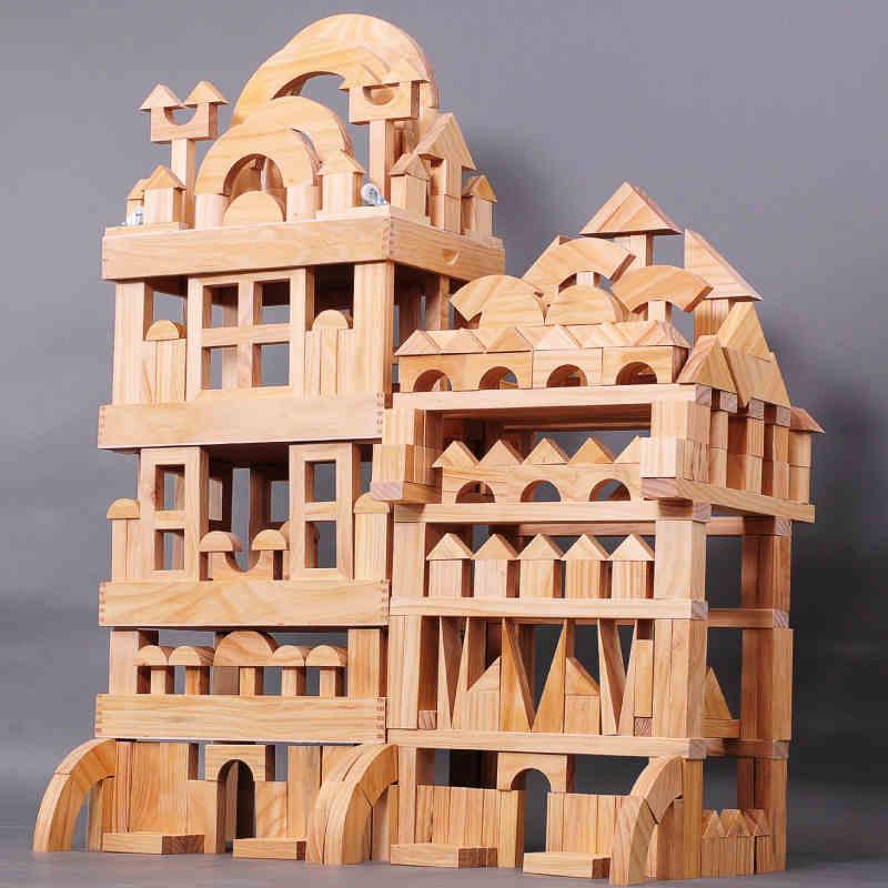 wooden Kindergarten big Block Sets