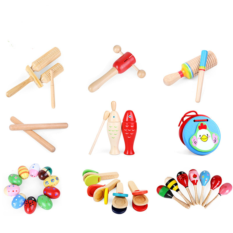 wooden baby rattles set