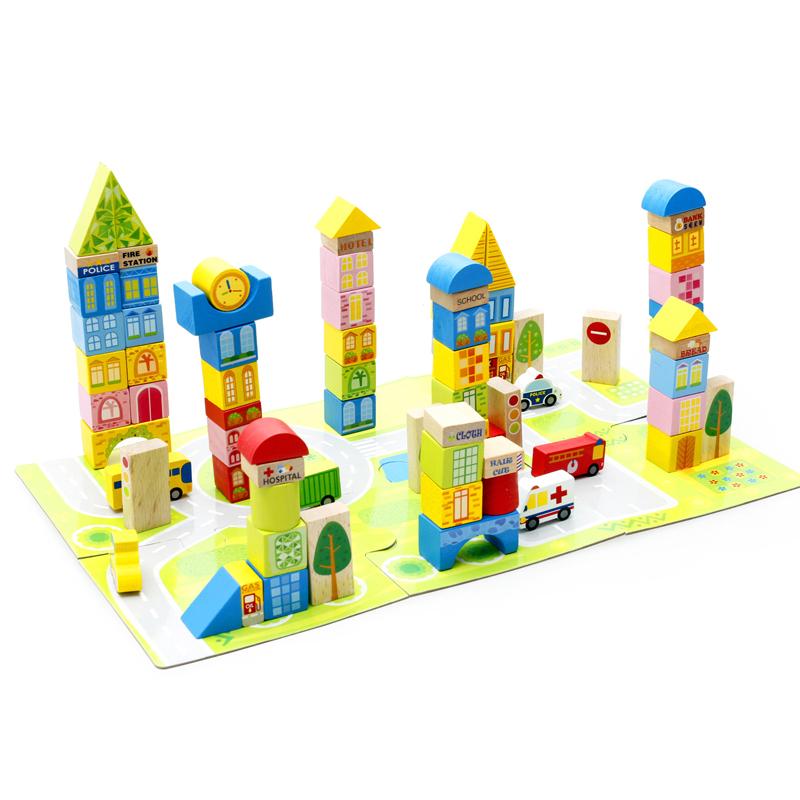 wooden building city blocks