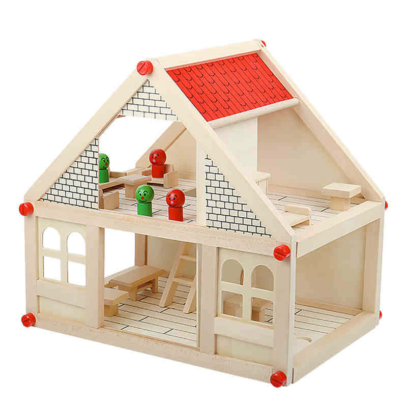 wooden children dollhouse