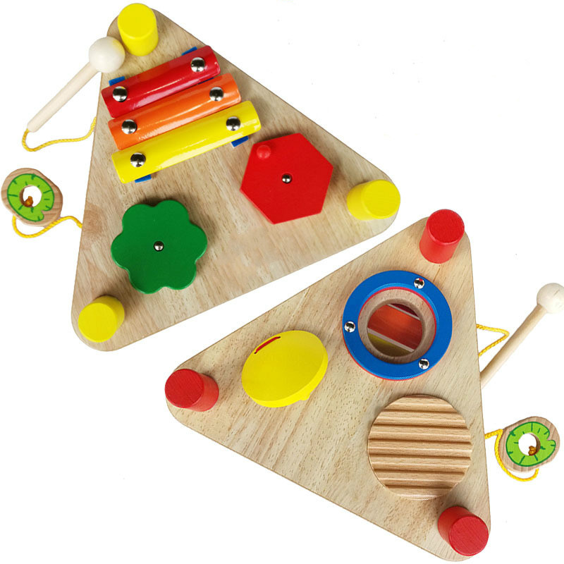 wooden double side musical toy
