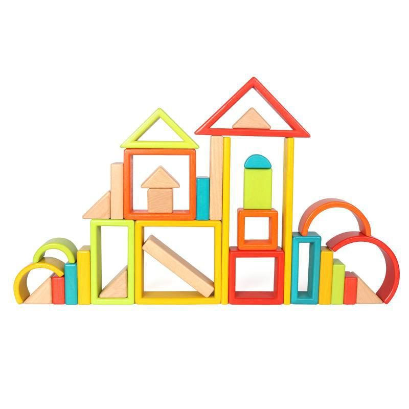 wooden children colorful blocks