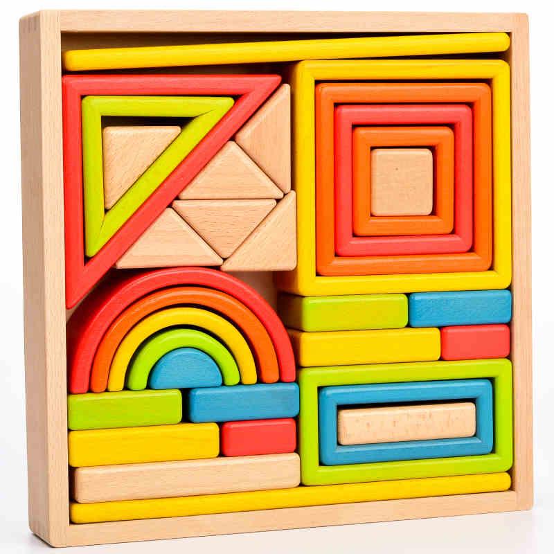 wooden building rainbow blocks