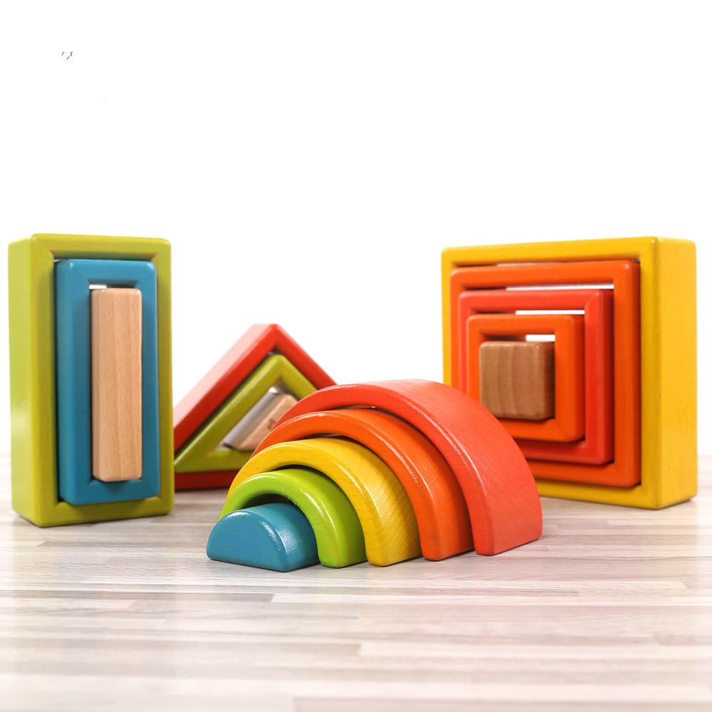 wooden rainbow blocks