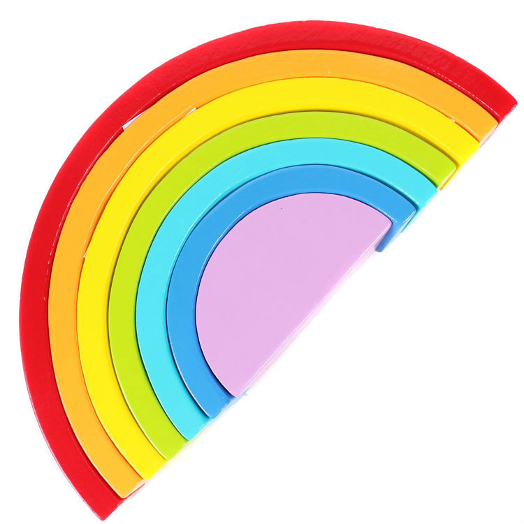 wooden rainbow blocks set