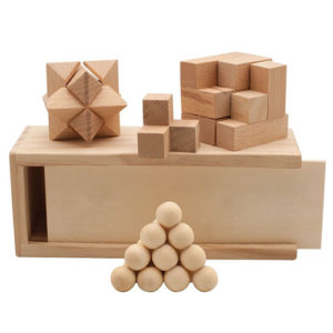 wooden natural wood puzzle set