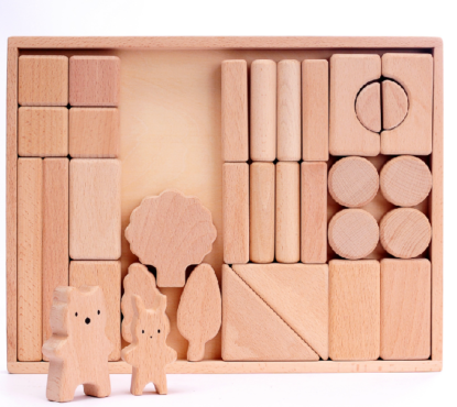 Baby wooden blocks set, natural beech wood